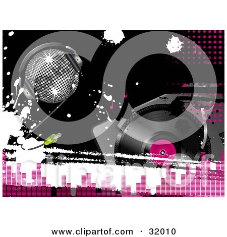 Clipart Illustration of a Silver Disco Ball Wearing Headphones, On A Black Background With White Grunge Splatters And A Record Player, With Pink Dots And Equalizer Bars by elaineitalia