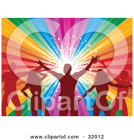 Clipart Illustration of Red Silhouetted Men And Women Dancing Together In Front Of A Rainbow Background With A Bright Burst Of Stars by elaineitalia