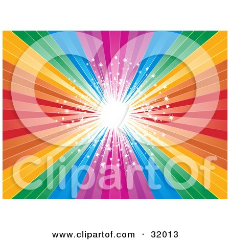 Clipart Illustration of a Bright Burst Of Light With Stars In The Center Of A Rainbow Background by elaineitalia