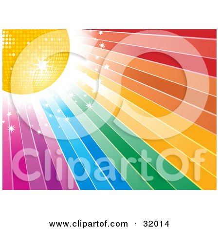 Clipart Illustration of a Yellow Disco Ball And Bright Sparkling Light In The Upper Corner Of A Rainbow Background by elaineitalia