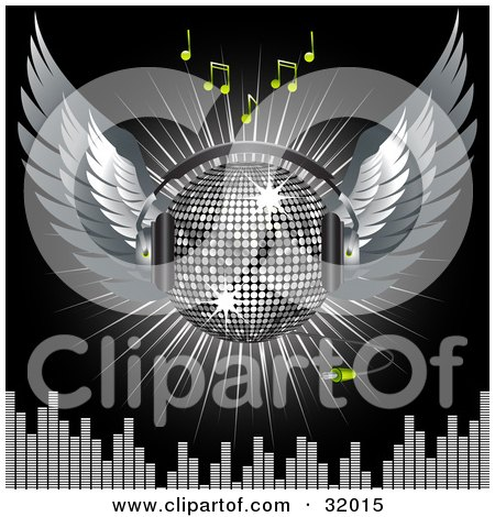 Clipart Illustration of a Silver Disco Ball With Wings And Headphones, Over A Black Background With A Burst Of Light, Green Music Notes And Equalizer Bars by elaineitalia