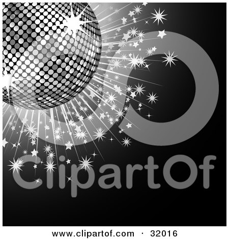 Clipart Illustration Of A Silver Disco Balls With Sparkling Stars On A Black Background