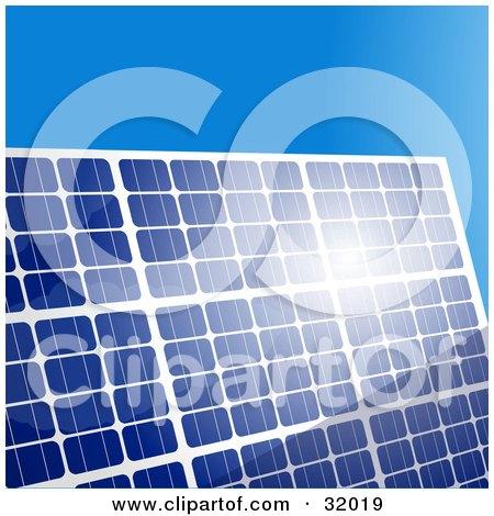 Clipart Illustration of Sunlight Bouncing Off Of A Blue Solar Panel, Against A Clear Blue Sky by elaineitalia