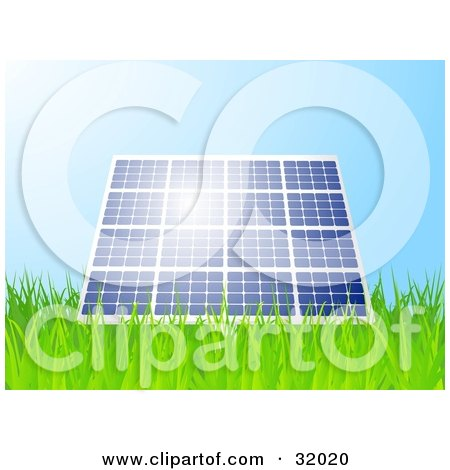 Clipart Illustration of Sunshine Reflecting Off Of A Blue Solar Panel Propped Up In A Grassy Field by elaineitalia