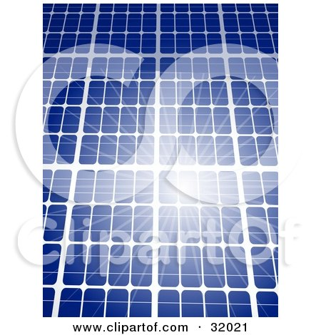 Clipart Illustration of a Bright Sunlight Reflecting Off Of A Blue Solar Panel, Symbolizing Renewable And Green Energy by elaineitalia