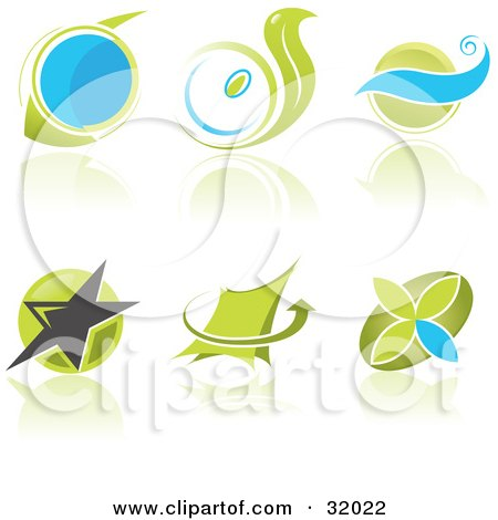 Clipart Illustration of a Set Of Six Blue And Green Business Logos With Circles, Waves, Stars And Arrows And Reflections. by Paulo Resende