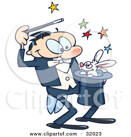 Clipart Illustration of a Talented Magician Luring A Rabbit Out Of A Hat, With Colorful Stars, On A White Background by gnurf