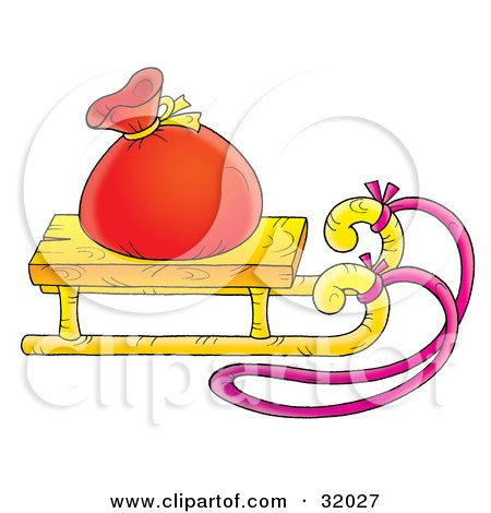 Clipart Illustration of a Red Toy Sack On Top Of A Wooden Sleigh With A Pink Rope, On A White Background by Alex Bannykh