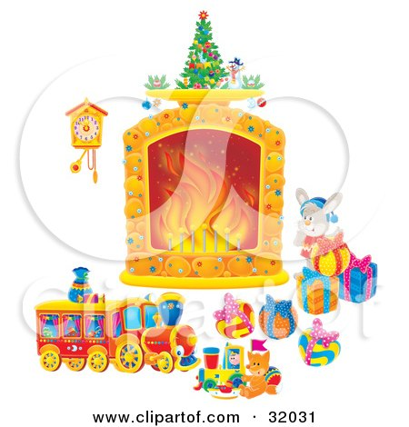Clipart Illustration Of A Bunny Rabbit By Toys And Christmas Presents Looking At A Cuckoo Clock Hanging Near A Fireplace