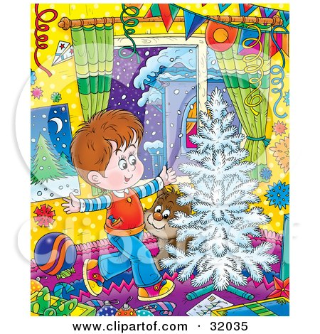 Clipart Illustration of a Happy Little Boy And His Puppy Running Around A White Flocked Christmas Tree On Christmas by Alex Bannykh