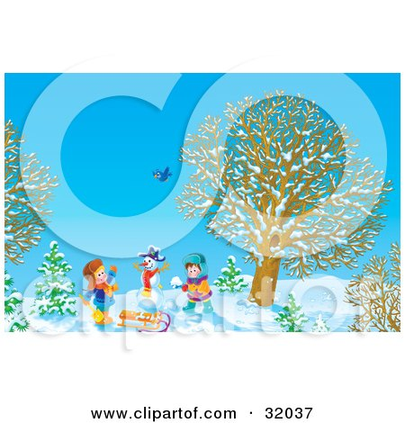 Clipart Illustration of Two Children Making Snowballs And Playing Near A Snowman, A Bird Flying Above, On A Sunny Winter Day by Alex Bannykh