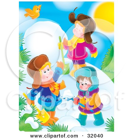 Yellow Bird Flying Over Three Children Digging In Snow And Making A Snowman On A Sunny Winter Day Posters, Art Prints