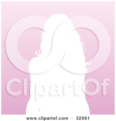 Clipart Illustration of a Woman With Long Hair, Silhouetted In White, From The Waist Up, Over A Gradient Pink Background by KJ Pargeter