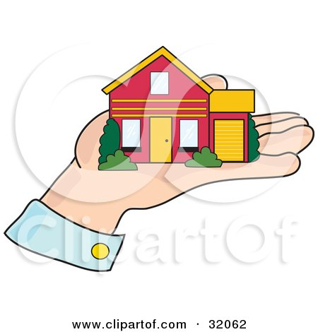 Clipart Illustration of a Red And Yellow Home Resting In The Palm Of A Man's Hand, Symbolizing Mortgage, Home Loans, Investment And Realty by Maria Bell