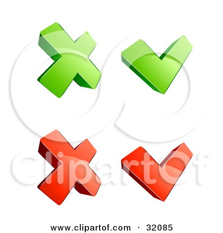 Clipart Illustration of a Set Of Four 3d Green And Red X And Check Mark Icons, On A White Background by beboy