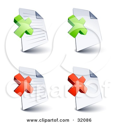 Clipart Illustration of a Set Of Four Lined And Blank Pages With Green And Red X Marks, On A White Background by beboy
