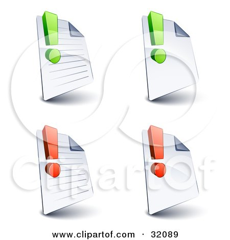 Clipart Illustration of a Set Of Four Lined And Blank Pages With Green And Red Exclamation Points, On A White Background by beboy