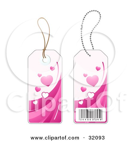 Clipart Illustration of Two Sides Of A Pink Heart Sales Price Tag With A Barcode by beboy