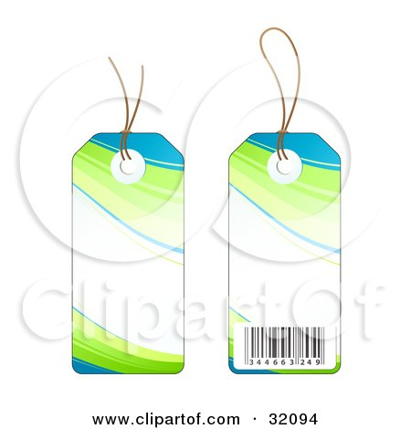Clipart Illustration of Two Sides Of A Blue, Green And White Sales Price Tag With A Barcode by beboy