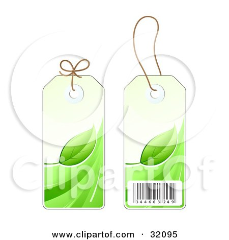 Clipart Illustration of Two Sides Of A Green Leaf Sales Price Tag With A Barcode by beboy