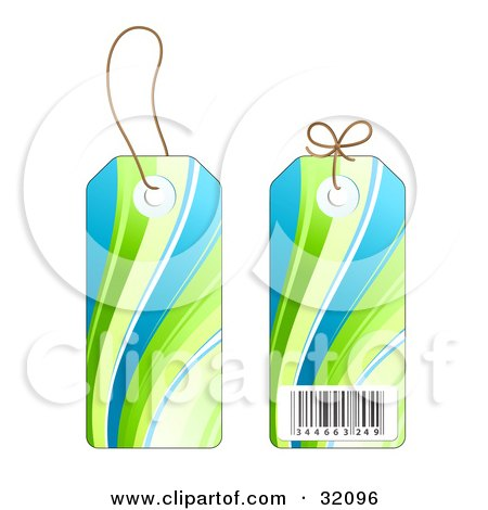 Clipart Illustration of Two Sides Of A Blue And Green Wave Design Sales Price Tag With A Barcode by beboy