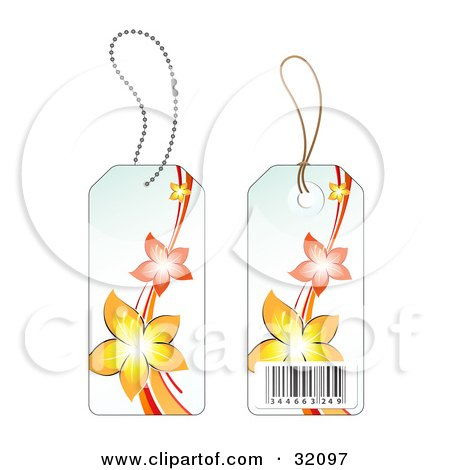 Clipart Illustration of Two Sides Of A Yellow And Orange Flower Sales Price Tag With A Barcode by beboy