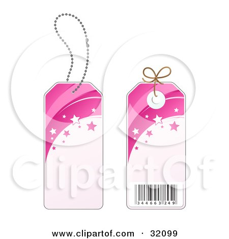 Clipart Illustration of Two Sides Of A Pink Star Sales Price Tag With A Barcode by beboy