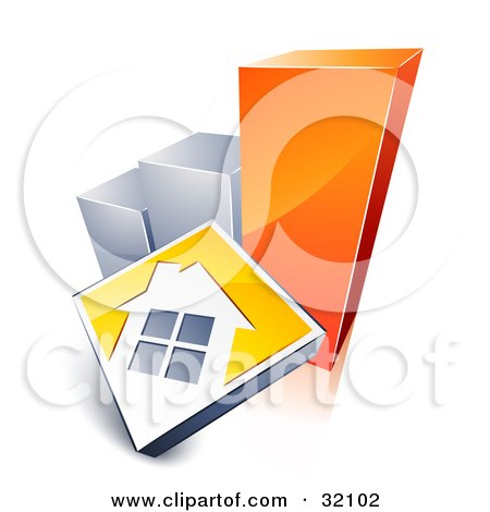 Clipart Illustration of a White House On A Yellow Block, Leaning Against A Silver And Orange Bar Graph, Showing An Increase In Home Loans, Sales, Or Foreclosures by beboy