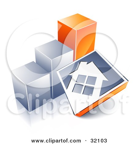Clipart Illustration of a White House On A Blue Block, Leaning Against A Silver And Orange Bar Graph, Showing An Increase In Home Loans, Sales, Or Foreclosures by beboy