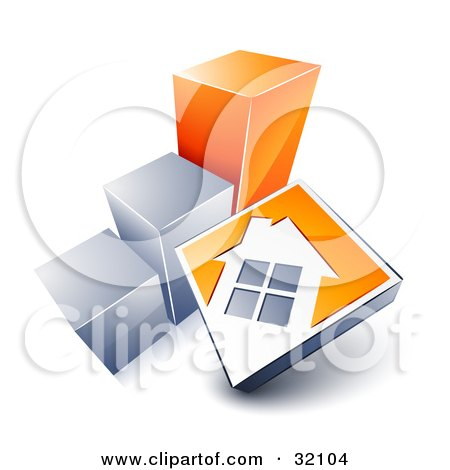 Clipart Illustration of a White House On An Orange Block, Leaning Against A Silver And Orange Bar Graph, Showing An Increase In Home Loans, Sales, Or Foreclosures by beboy