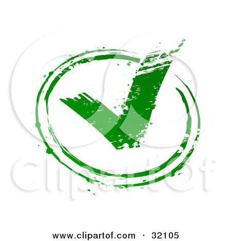 Clipart Illustration of a Green Stamp Imprint Of A Green Check Mark In A Circle, Symbolizing Approval, On A White Background by beboy