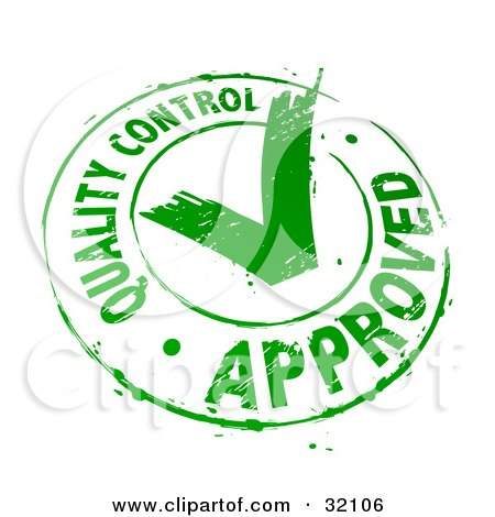 Clipart Illustration of a Quality Control Approved Stamp Of A Green Check Mark In A Circle, On A White Background by beboy