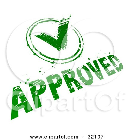 Clipart Illustration of a Green Check Mark And Approved Stamp On A White Background by beboy