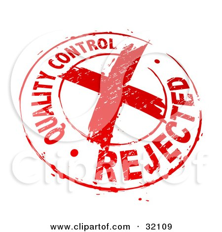 Clipart Illustration of a Quality Control Rejected Stamp Of A Red X In A Circle, On A White Background by beboy
