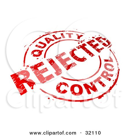 Clipart Illustration of a Red Circular Stamp With Quality Control Rejected Text, Over A White Background by beboy