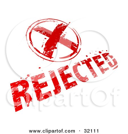 Clipart Illustration of a Red X And Rejected Stamp On A White Background by beboy