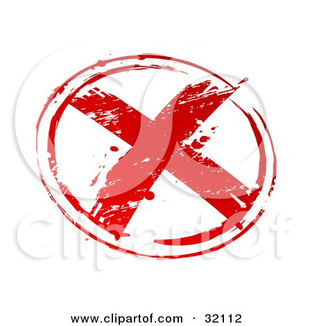 Clipart Illustration of a Red Stamp Imprint Of A Red X In A Circle, Symbolizing Rejection, On A White Background by beboy