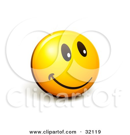 Clipart Illustration of an Expressive Yellow Smiley Face Emoticon Flashing A Friendly Smile by beboy