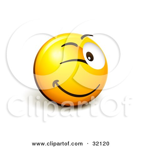 Clipart Illustration of an Expressive Yellow Smiley Face Emoticon Flirting And Winking by beboy