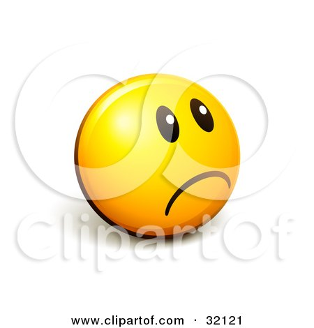 Clipart Illustration of an Expressive Yellow Smiley Face Emoticon Looking Off To The Right And Frowning Or Pouting by beboy