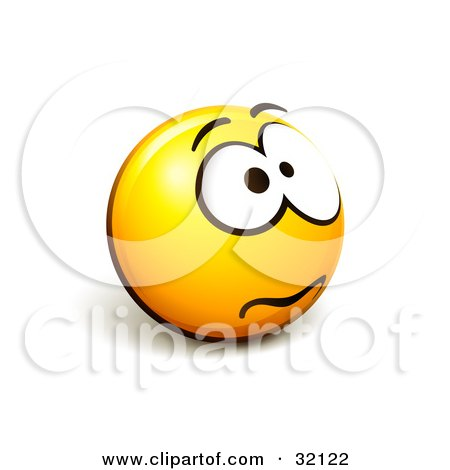 Clipart Illustration of an Expressive Yellow Smiley Face Emoticon Fretting by beboy