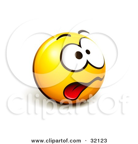 Clipart Illustration of an Expressive Yellow Smiley Face Emoticon Hanging Its Tongue Out From Stress by beboy