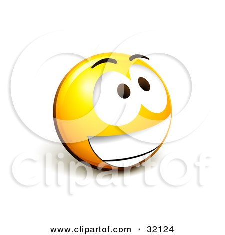 Clipart Illustration of an Expressive Yellow Smiley Face Emoticon Grinning Excitedly by beboy