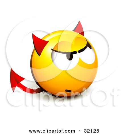 Clipart Illustration of an Expressive Yellow Smiley Face Emoticon With Devil Ears And A Forked Tail by beboy