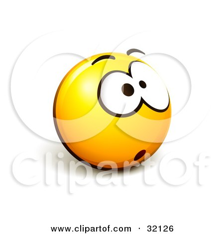 Clipart Illustration of an Expressive Yellow Smiley Face Emoticon With One Big Eye, Stressed Out Or Nervous by beboy