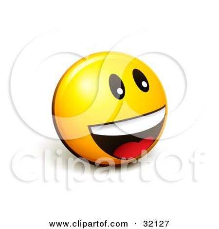 Clipart Illustration of an Expressive Yellow Smiley Face Emoticon Smiling And Laughing While Having Fun by beboy
