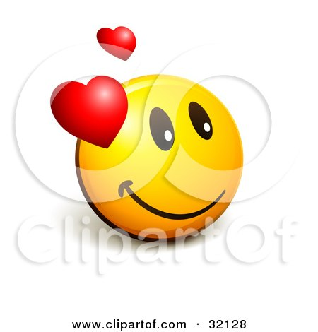 Clipart Illustration of an Expressive Yellow Smiley Face Emoticon With Hearts, Admiring His Crush by beboy