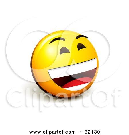 Clipart Illustration of an Expressive Yellow Smiley Face Emoticon Laughing Out Loud by beboy
