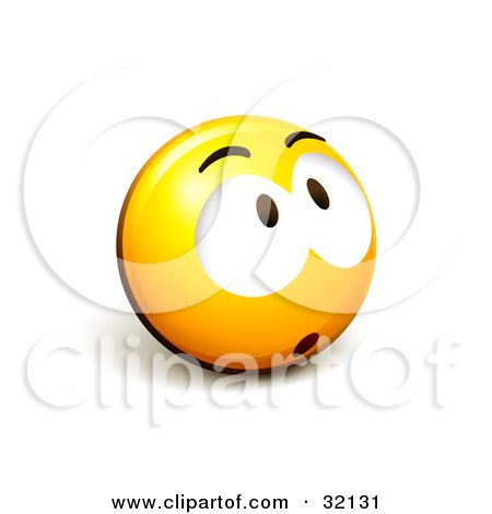 Clipart Illustration of an Expressive Yellow Smiley Face Emoticon Looking Up, Surprised, Nervous Or Sad by beboy