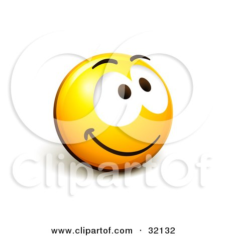 Clipart Illustration of an Expressive Yellow Smiley Face Emoticon Grinning And Smiling Upwards by beboy